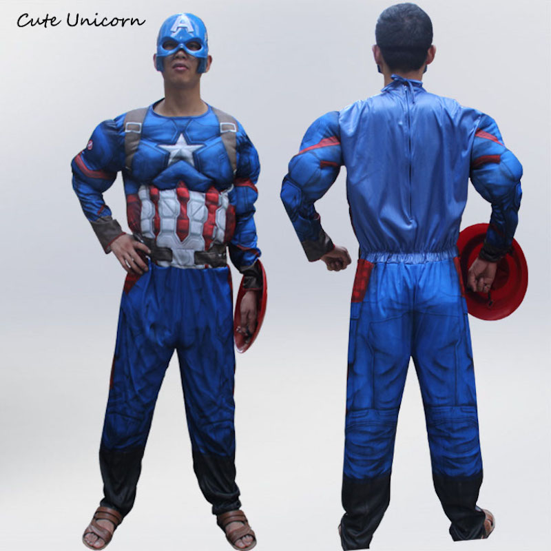 2018 Superhero Captain America adults Muscle Jumpsuits Mask Avengers Onesies mens Halloween Cosplay Costume super heroes clothes