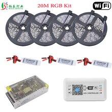 25 м wifi Светодиодная лента RGB IP65 водонепроницаемая 5050 Гибкая Диодная лента 10 м+ светодиодный беспроводной wifi контроллер мини RGB усилитель источник питания
