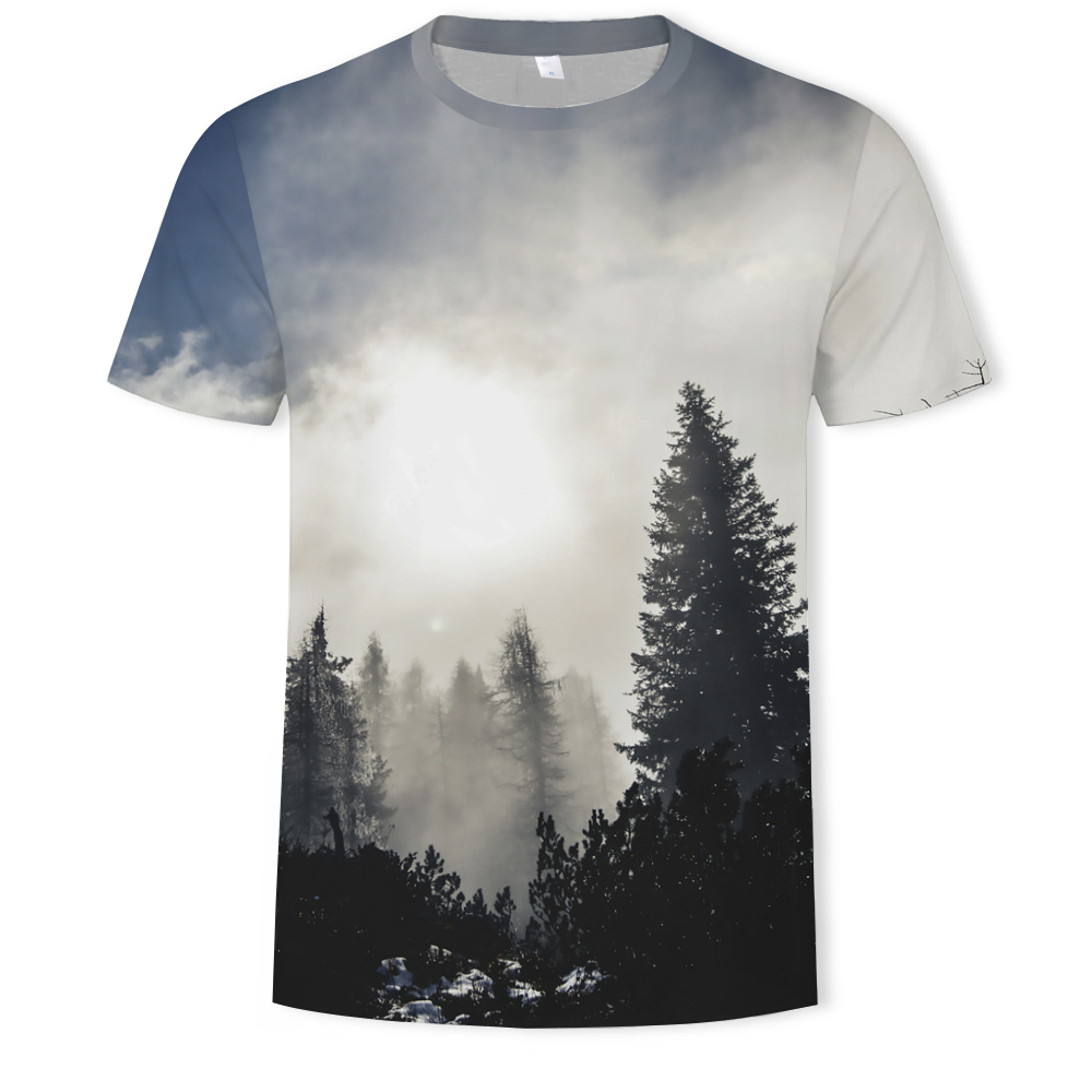2019 New Arrivals Mens 3d T-shirt Print Winter Forest Trees Quick Dry Summer Tops Tees Brand Tshirts Plus Size(China)