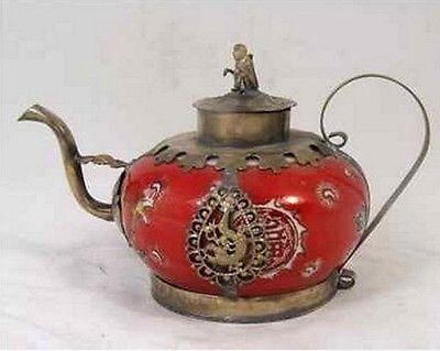 Уникальный Тибетский серебряные резные Leopard Бабочка Красный фарфоровый чайник украшения сада 100% Настоящее Тибетский серебро латунь