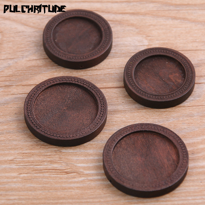 PULCHRITUDE 10pcs/lot 20/25mm Inner Size Brown Color Round Wood Cabochon Base Setting Charms Pendant Necklace Findings P6948