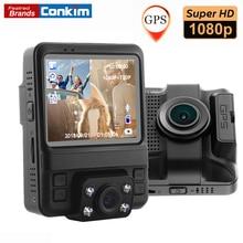 Conkim Двойной объектив видеорегистратор автомобильный Регистраторы Новатэк 96655 Full HD 1080p регистраторы Авто регистратор gps видеорегистраторы с 2 камеры GS65H