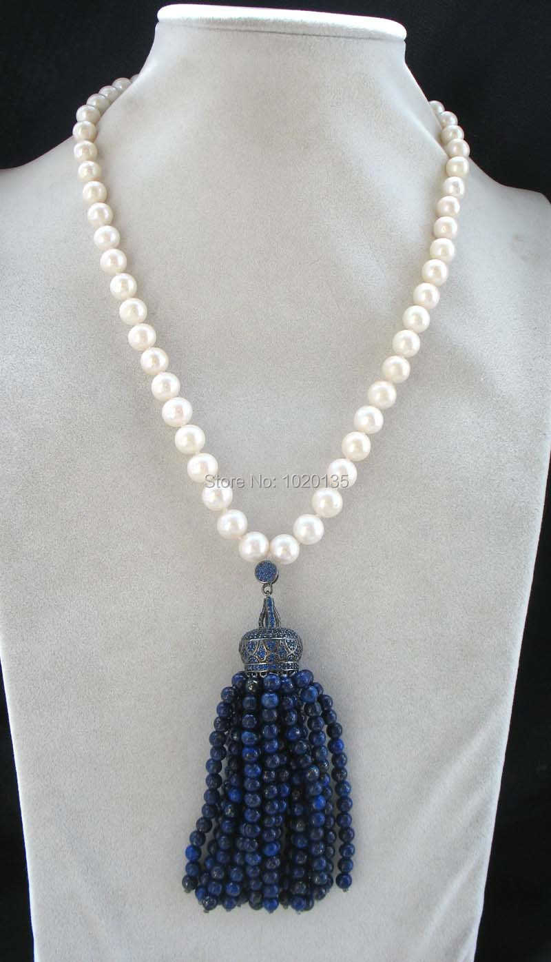freshwater pearl white round 9-10mm and lapis lazuli round necklace 18
