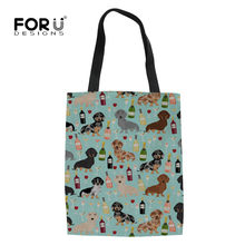 FORUDESIGNS Dachshund Doxie Dog Printing Eco Reusable Grocery Bags Shopping Bag Women Shopper Handbags School Girls Totes Bag(China)