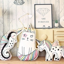 Cartoon Animal Toy unicorn katt plysch kudde mjuka unicorn häst kudde plysch leksaker Ny stil docka