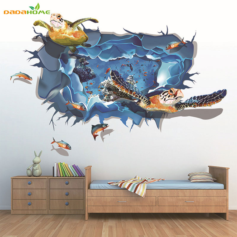 Nautical Decor 3d Sea Turtle Vinyl Art Living Room Dedroom