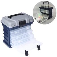 Portable Multi Layer Fish Lures Container Box Durable Fishing Tackle Storage Case Box Case with 4 Movable Bait Boxes Handle
