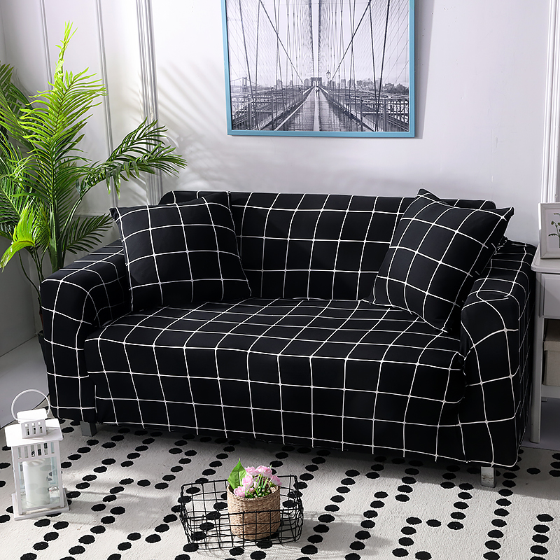 New Elegant Elastic Black Plaid Sofa Cover Armchair Couch Slipcovers For  Living Room Home Decor Furniture Protector Couch Covers For Reclining Sofas  ...