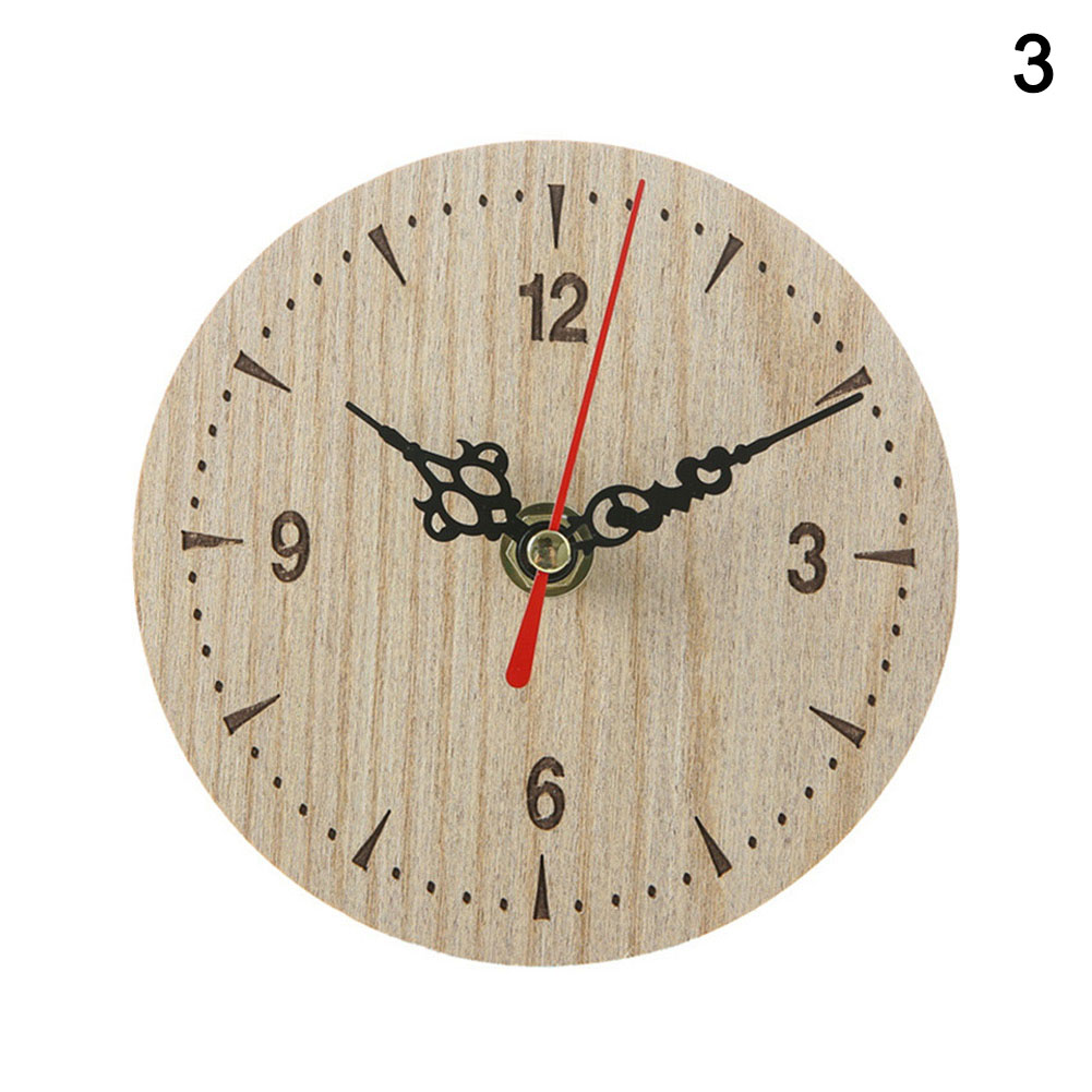 Newly Small Wooden Wall Clock Vintage Chic Kitchen Office Living Room Decor MK