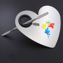 304 Stainless Steel New Heart Shape Makeup Nail Palette Set Spatula Fashion Pallet Artist Tools Hot