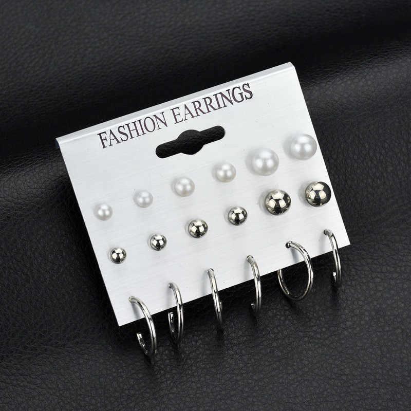 Fashion Elegant Crystal Round Simulated Pearl Flower Stud Earrings Set for Women Earrings Brincos Jewelry Wedding Bijoux