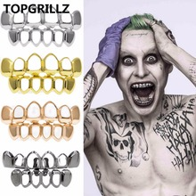 Real Shiny! New Custom Fit Rose Gold Color Plated Vampire Four Open Face Hallow Gold Grillz Set For Christmas Gift Party cheap Fashion Body Jewelry Skeleton Copper Metal Grillz Dental Grills G-005 Hiphop Rock TOPGRILLZ