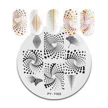 цена на PICT YOU Nail Stamping Plates Stainless Steel Round Shape Geometric Butterfly Nail Image Stamp Nail Art Stencils Tools Y002