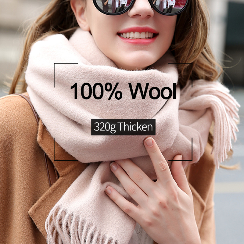 100% Wool Scarf Women 2019 Brand Winter Scarf Thicken Warm Scarves Winter Female Solid Color Wrap Pashmina Tassels Wool Scarfs