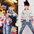 Family Matching Clothes Mother Daughter Jackets 2016 Brand Autumn Winter Floral Toddler Girls Jackets Women Coat Kids