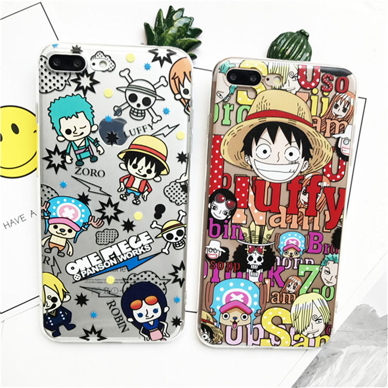 New Popular ONEPIECE Case For iPhone 5 5S SE 6 7 8 High Quality Luffy Phone Bag For iPhone X 7 8 6s Plus 7 8 Plus Cartoon Case