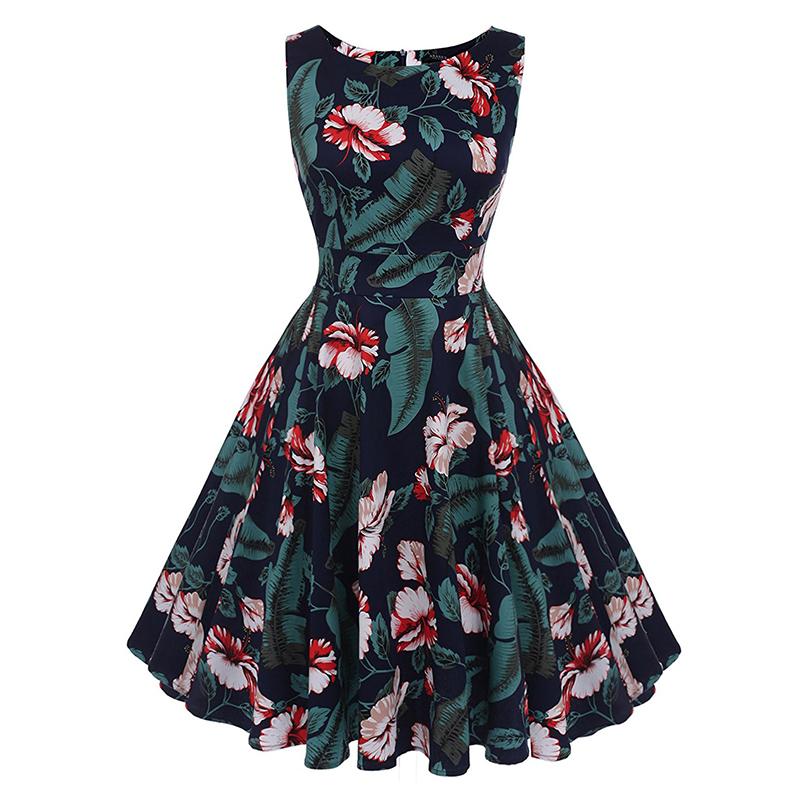 Kostlish Cotton Summer Dress Women 2017 Sleeveless Tunic 50s Vintage Dress Belt Elegant Print Rockabilly Party Dresses Sundress (70)