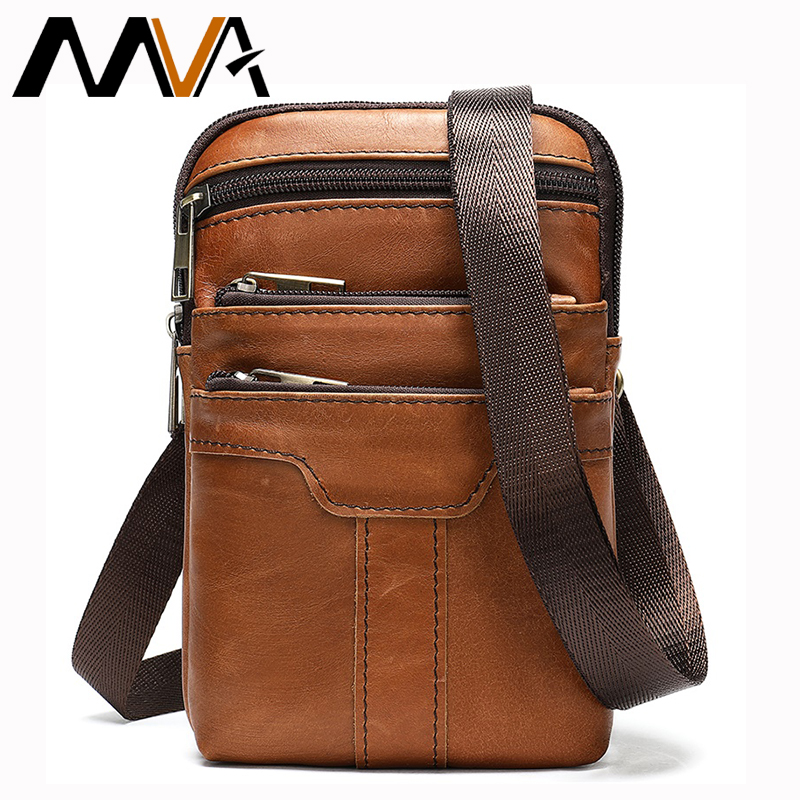 MVA Male Fanny Pack Belt Bag Men's Waist Bag Phone Pouch Bags Genuine Leather man Waist Packs Leather Pouch Travel Waists Pack leather
