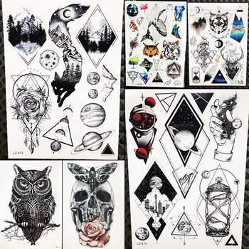 Water Transfer Tattoo Black Charm Women Arm Wrist Temporary Tattoo Stickers Men Geometric Planet Hands Fake Tatoos Makeup Tips
