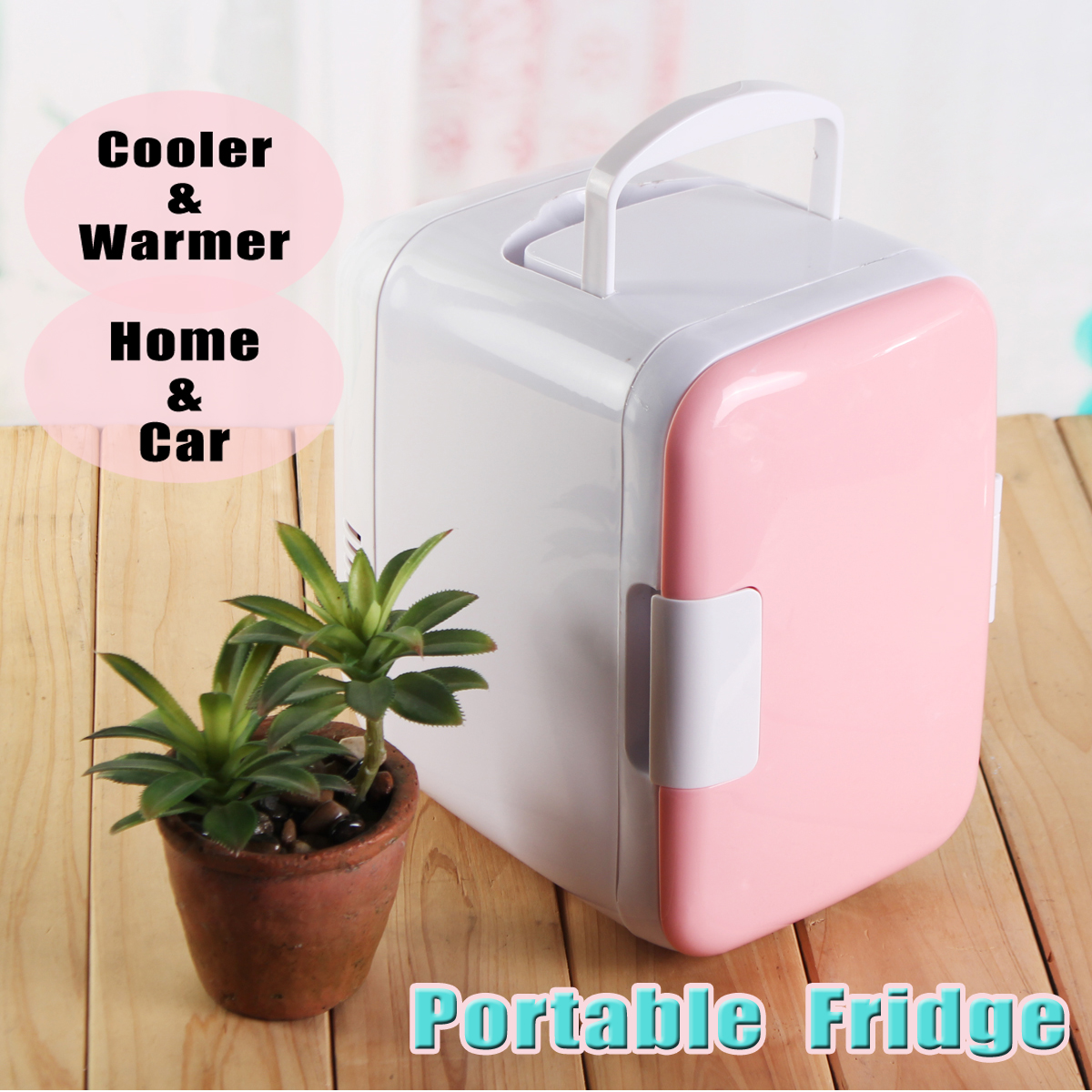 4L Portable Mini Fridge Cooler and Warmer Auto Car Boat Vehicle Refrigerator Home Office AC & DC Pink BS 48W mini 4l portable refrigerator fridge cooler warmer