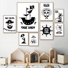 цена Pirate Captain Boy Fox Panda Ship Wall Art Canvas Painting Black White Nordic Posters And Prints Wall Pictures For Kids Room онлайн в 2017 году