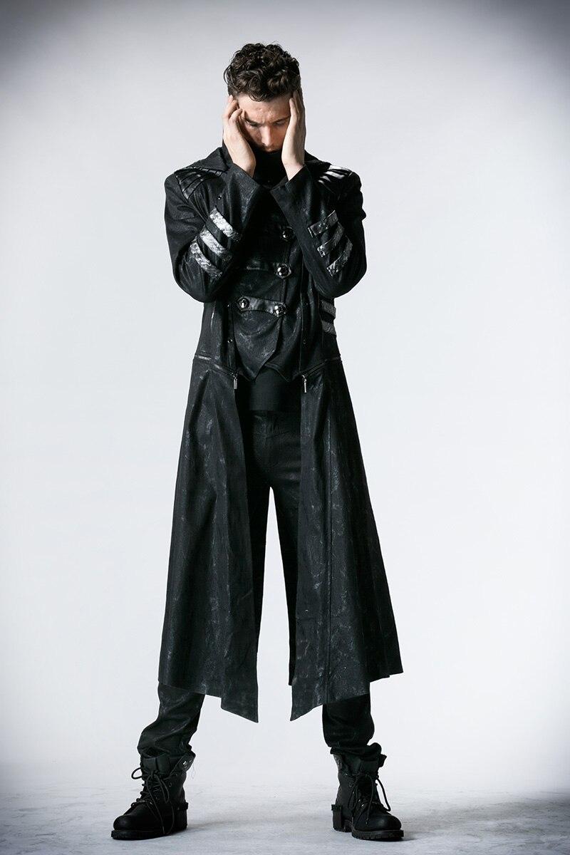 Мужские тренчи в стиле стимпанк черные Саржевые пальто с кожаным готическим капюшоном съемные длинные зимние пальто - 2