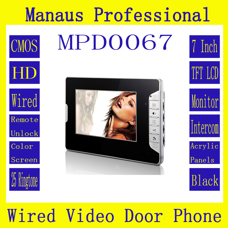 TFT LCD 7 inch Screen Display Video Intercom Indoor Monitor Black White 2 Colors Options Support 100 Meters Remote Unlock D0067 aputure digital 7inch lcd field video monitor v screen vs 1 finehd field monitor accepts hdmi av for dslr