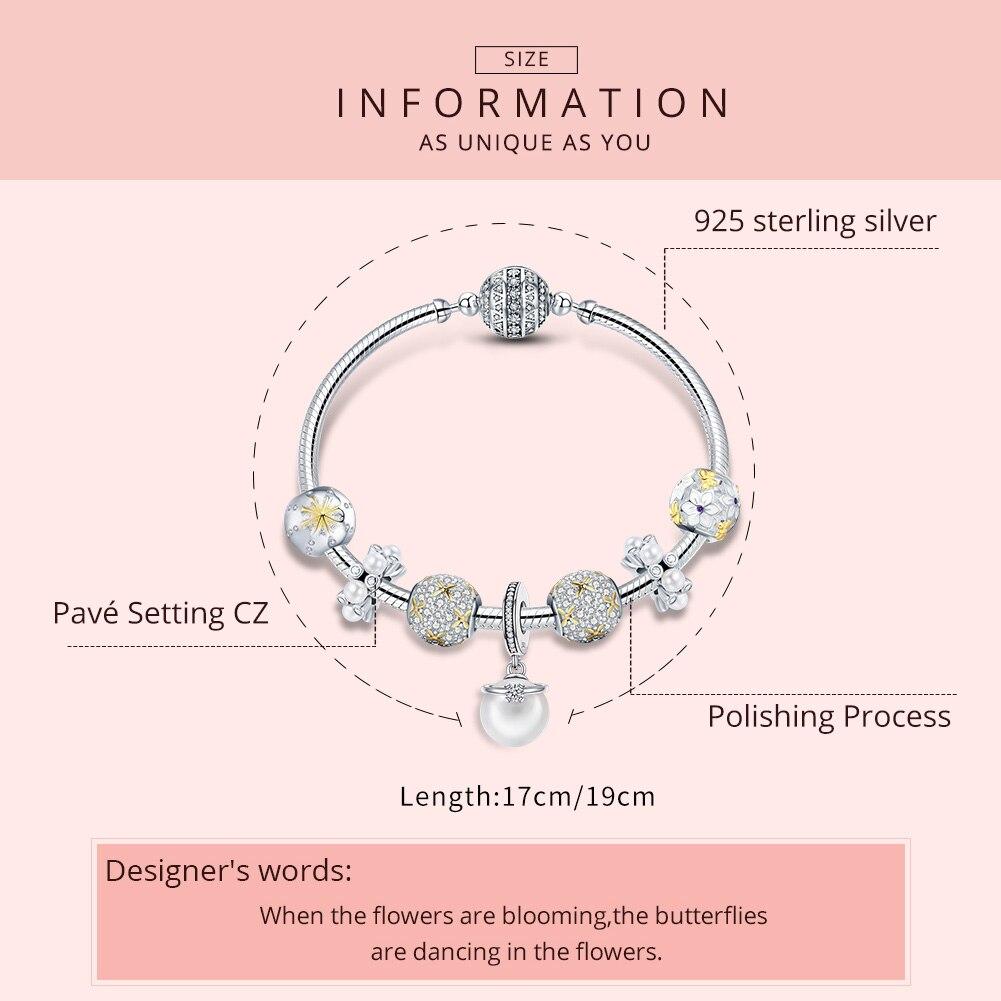 WOSTU подлинный 925 пробы Серебряный ослепительный полный цветение ромашка браслет для женщин модные серебряные ювелирные изделия подарок для влюбленных DXB806 - 3