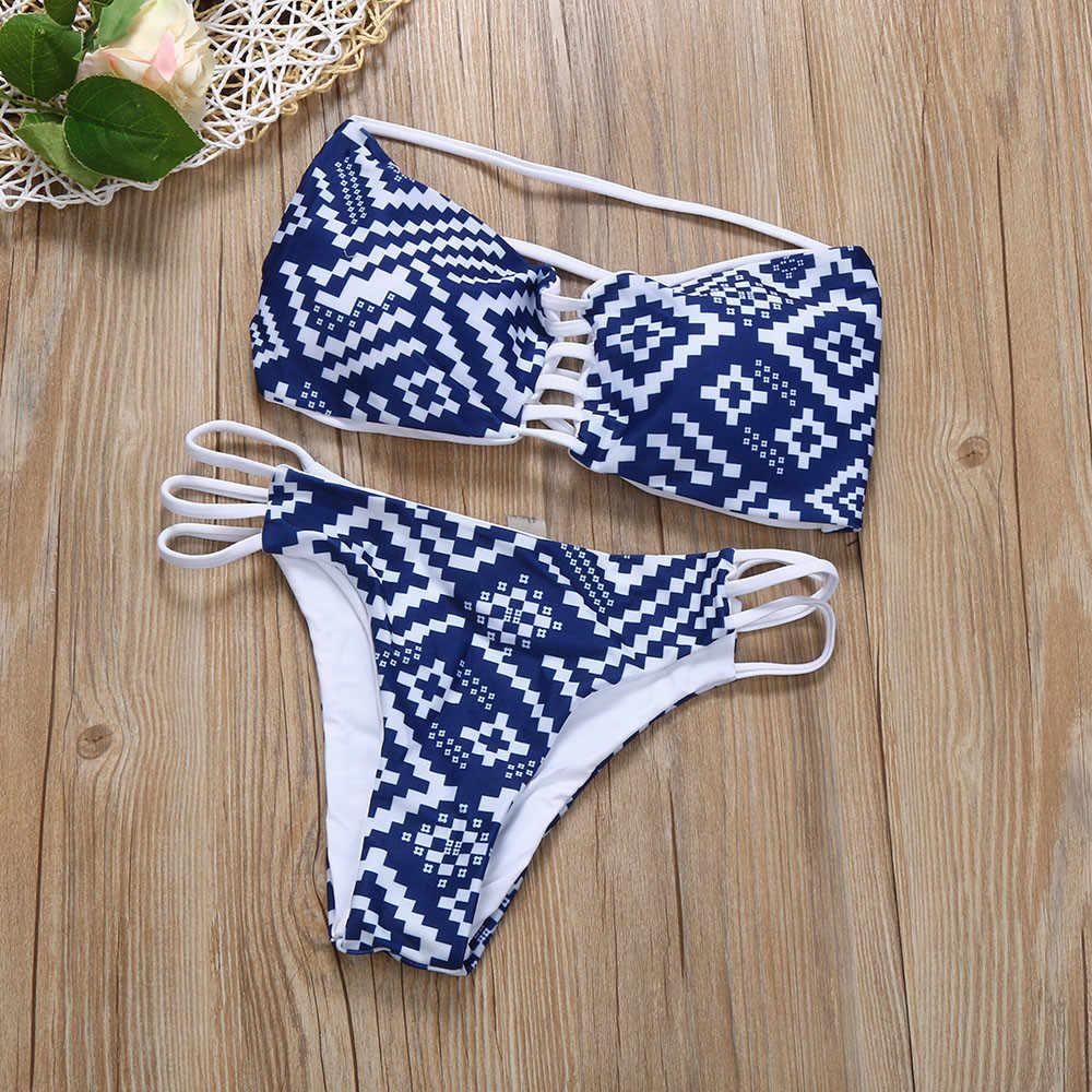 בגדי ים נשים כחול ביקיני 2019 סקסי ביקיני לדחוף את הדפסת רחצה חליפת נשים חלול החוצה וחוף בריכת חליפת נשים ביקיני