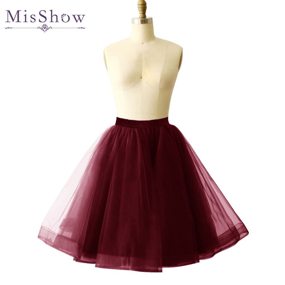 Hot Selling 2019 Royal Blue White Red Petticoats Tulle Underskirt Short Skirts For Wedding Dress Crinoline Women Skirt In Stock