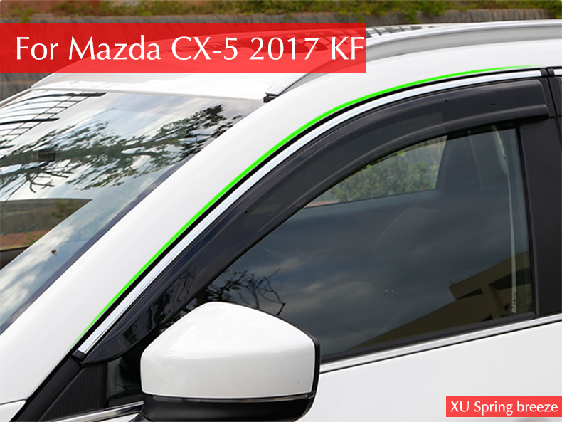 Car Windows Rain Shelter Shield Window Visor Window Deflector Protection Trim Sun Visor for Mazda CX-5 CX5 2017 2018 KF 2015 2017 car wind deflector awnings shelters for hilux vigo revo black window deflector guard rain shield fit for hilux revo