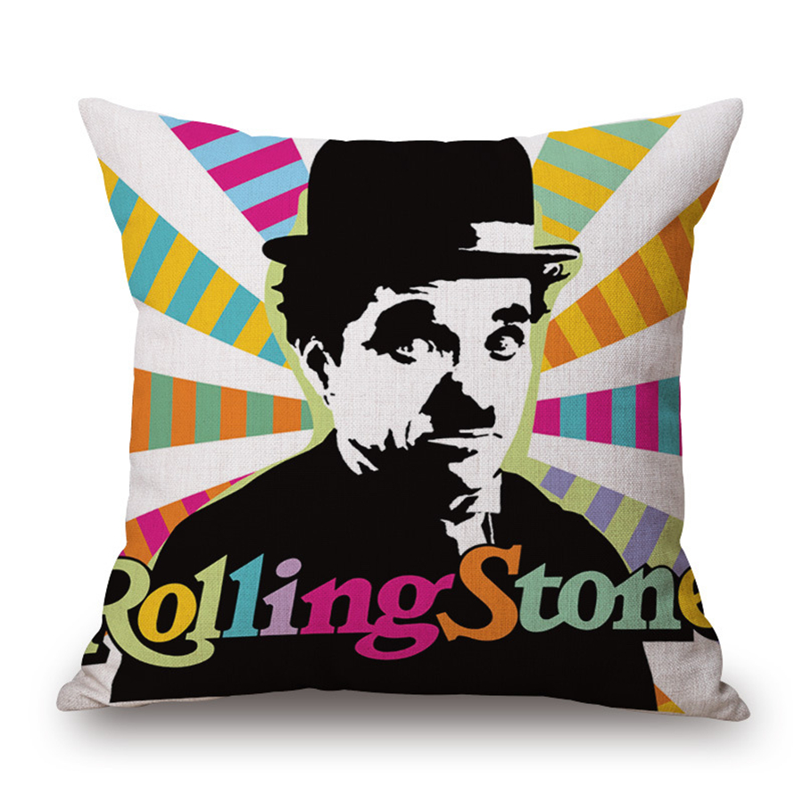 Cojines Vintage Para Sofas Star Pop Art Decorative Cushion Cover Vintage Chaplin Fundas De Cojines Para El Sofa Throw Pillow Case 45 45 For Sofa Pouf E916 In Cushion Cover From