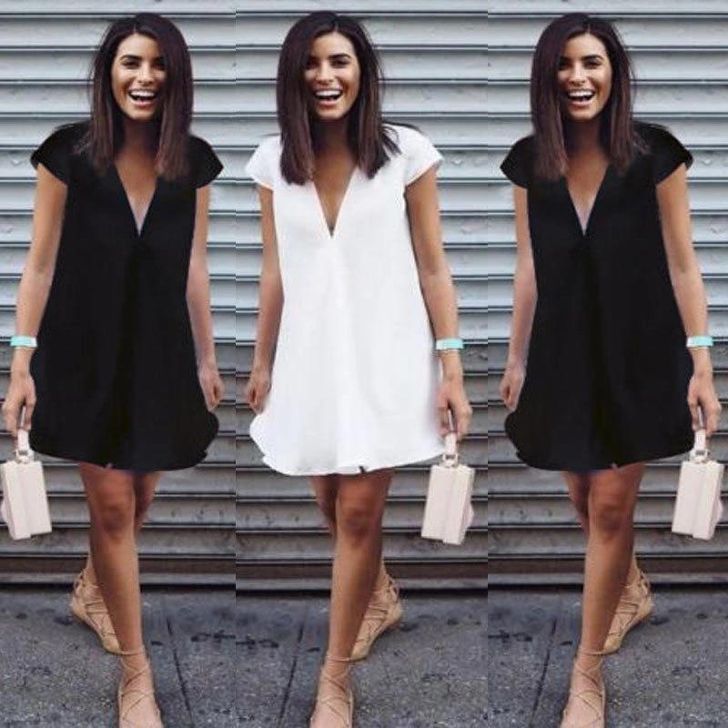 Plus Size Women Shirt Dress Ladies Summer Short Sleeve Casual Loose Mini Dresses