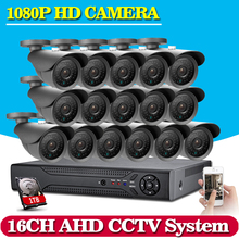 NINIVISION 16CH CCTV System 1080P AHD CCTV DVR System HD 16PCS CCTV Cameras 2.0MP Megapixels Enhanced IR Security Camera 1TB HDD
