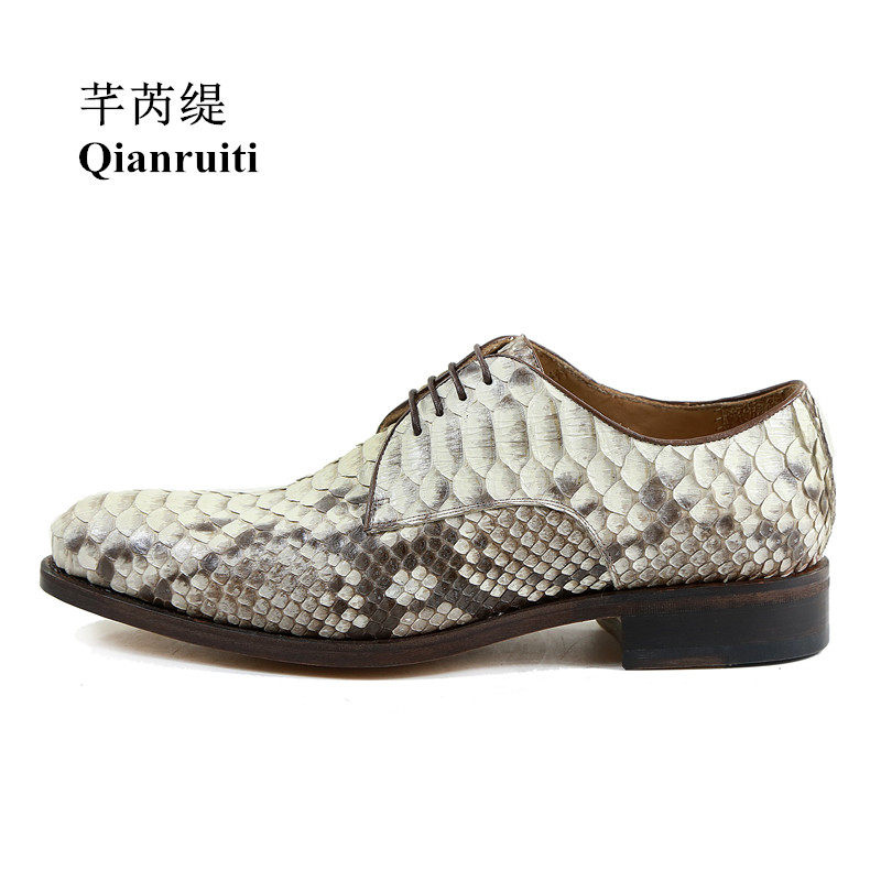 Qianruiti Men Python skin leather Shoes Vintage Street Style Handmade Slipper Men Oxfords Lace-up Dress Shoes with Exquisite BoxQianruiti Men Python skin leather Shoes Vintage Street Style Handmade Slipper Men Oxfords Lace-up Dress Shoes with Exquisite Box