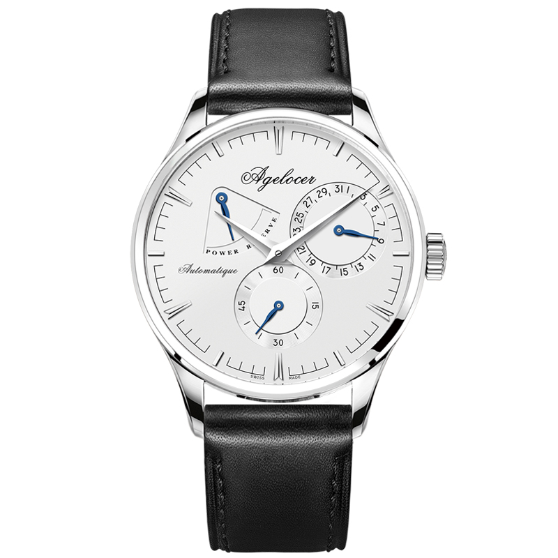 Agelocer Brand Watches Original Design Mechanical Watches for Men Casual Fashion Watches Genuine Leather Strap Power Reserve 410Agelocer Brand Watches Original Design Mechanical Watches for Men Casual Fashion Watches Genuine Leather Strap Power Reserve 410