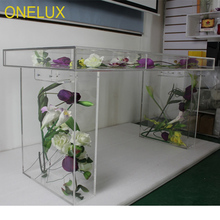 (KD packing)Clear Acrylic Bridal Table,Plexiglass Event Decor Tables,Lucite Flower Desk