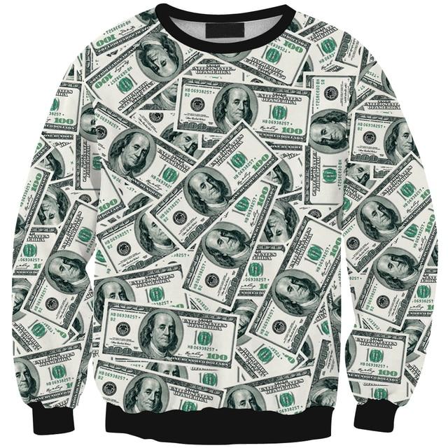 Fashion 3D Hoodies for men women money dollar print sweats casual sweatshirt crewneck street wear tops sale