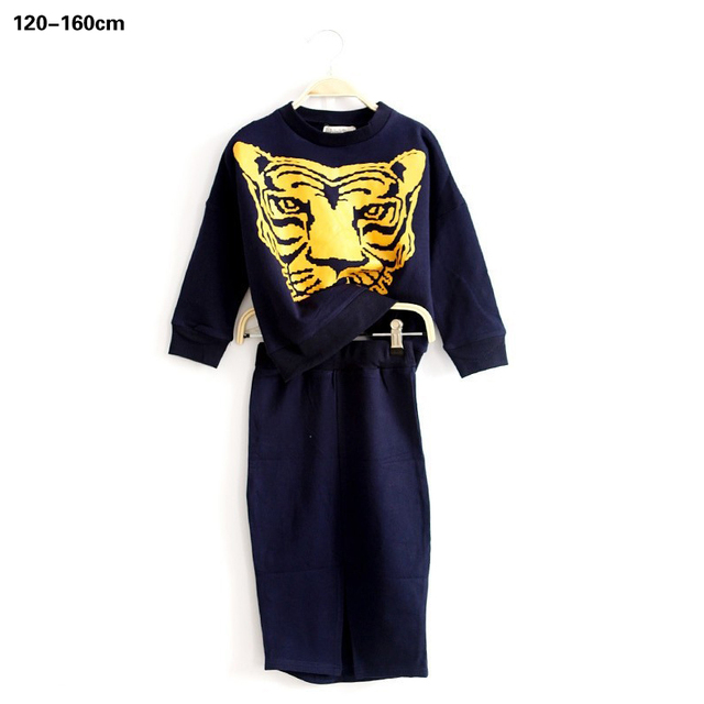 Fashion teen girls clothes set cotton tiger t shirt tops + skirts 2 pcs girl dress set kids girls school suits clothing set 6-12