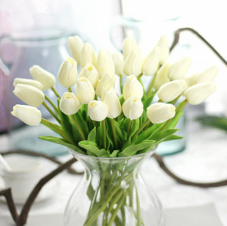 1Pc Artificial tulips Flower for spring home wedding decoration flores Cheap PU Fake flowers Artificiales white tulip