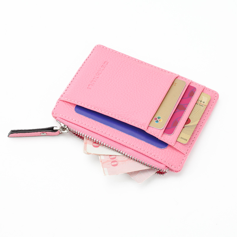 Men/Women Mini ID Card Holders Business Credit Card Holder PU Leather Slim Bank Card Case Organizer Wallet Zipper Unisex
