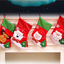 Merry Christmas Stockings Santa Claus Snowman Sock Xmas Plaid Sequin  Candy Gift Bags Decoration For Tree Hanging Mini