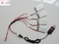 Ewellsold 4pcs 3.7v 500mah Li polymer battery +USB cable charger for X5C X5 X5SC RC helicopter RC Quadcopter