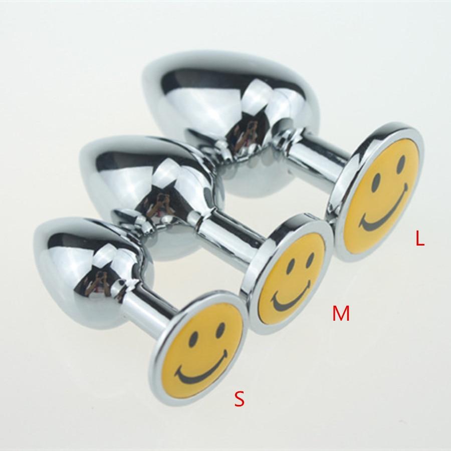New Sml Smile Face Rhinestone Anal Plug Metal Butt Plug -3627