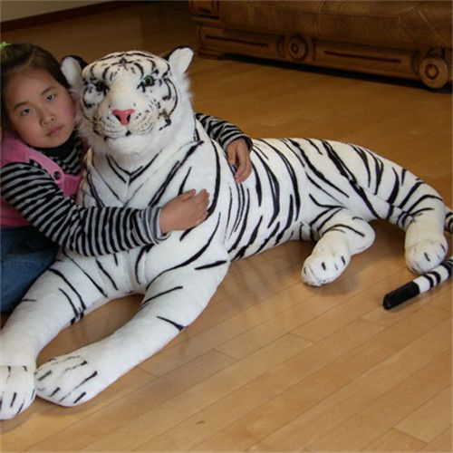 Huge Plush Tiger Toy White Simulaiton Big Tiger Toy Huge Tiger Doll