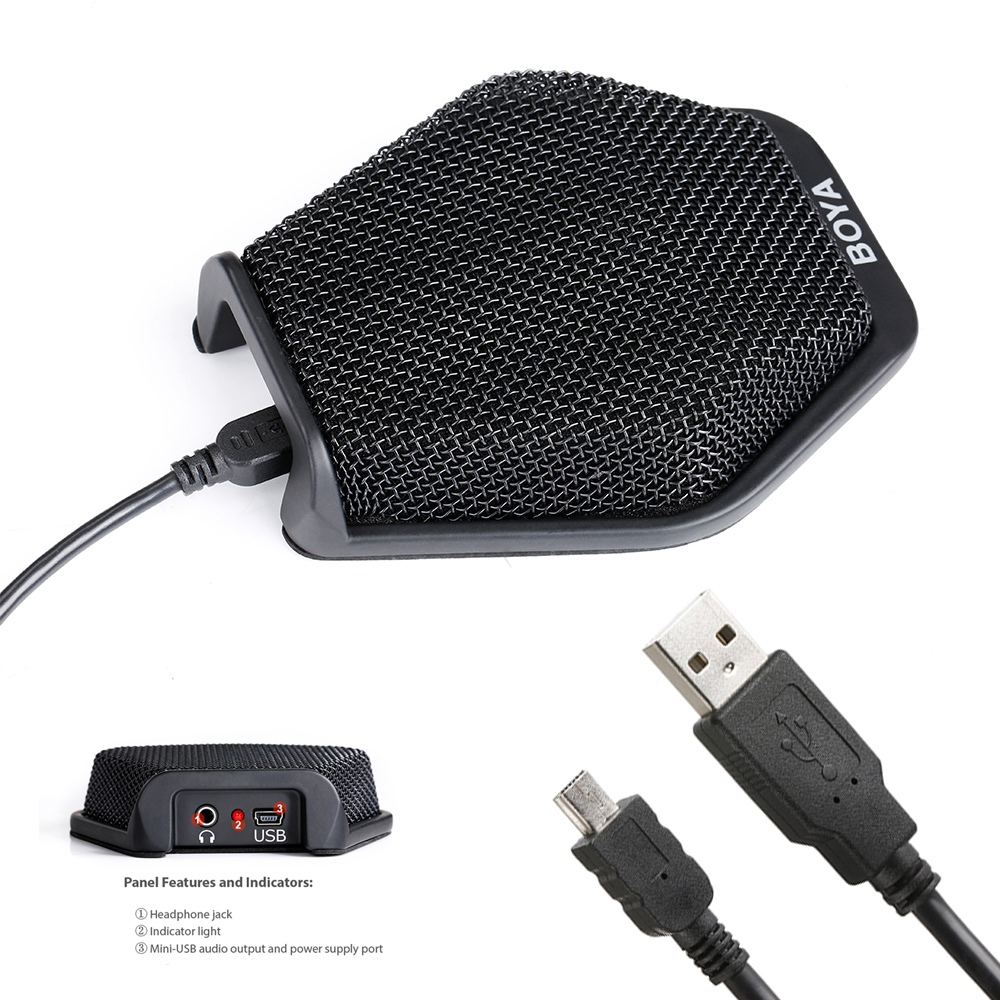 BOYA BY-MC2 3.5mm Jack & USB Condenser Desktop Conference Computer Microphone for Windows Mac Laptop for Meeting Seminar Speech boya by mc2 portable usb condenser conference microphone durable for speech