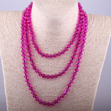 Fashion Bohemian Tribal 145cm Long Jewelry Red Crystal knotted long Halsband 5*8 Glass Crystal Necklace недорого