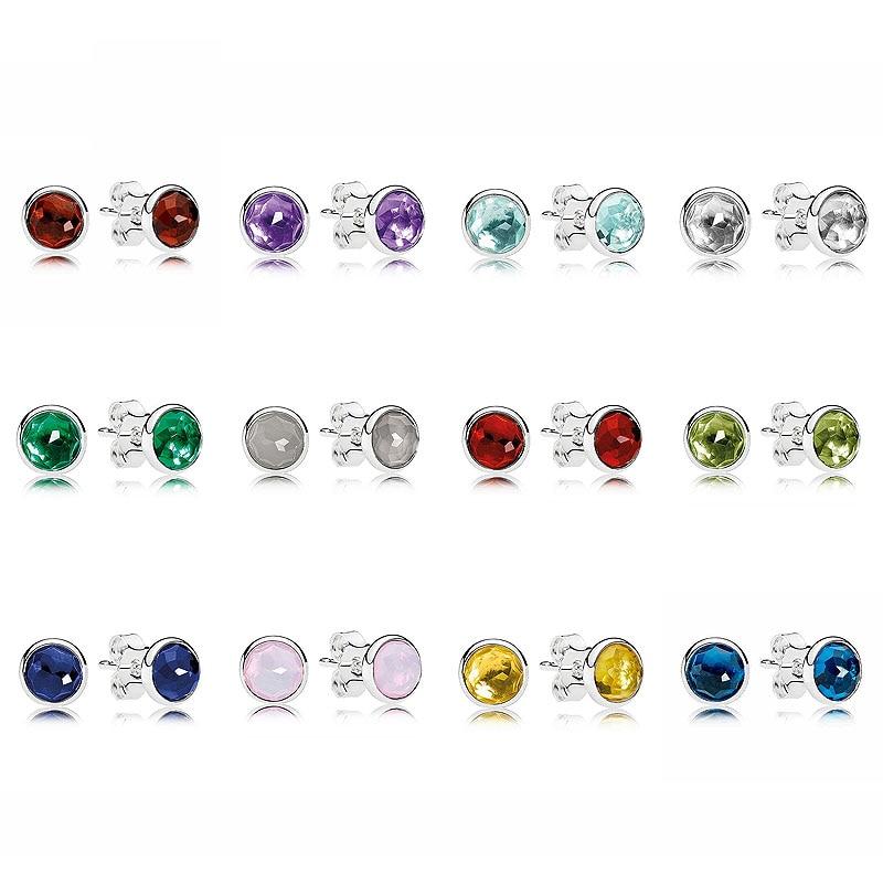 7ef6c9fa6 Online Shop 925 Sterling Silver Earring Birthday Gifts Twelve Months Droplets  Studs Earrings For Women Birthday Gift Fine Pandora Jewelry | Aliexpress ...