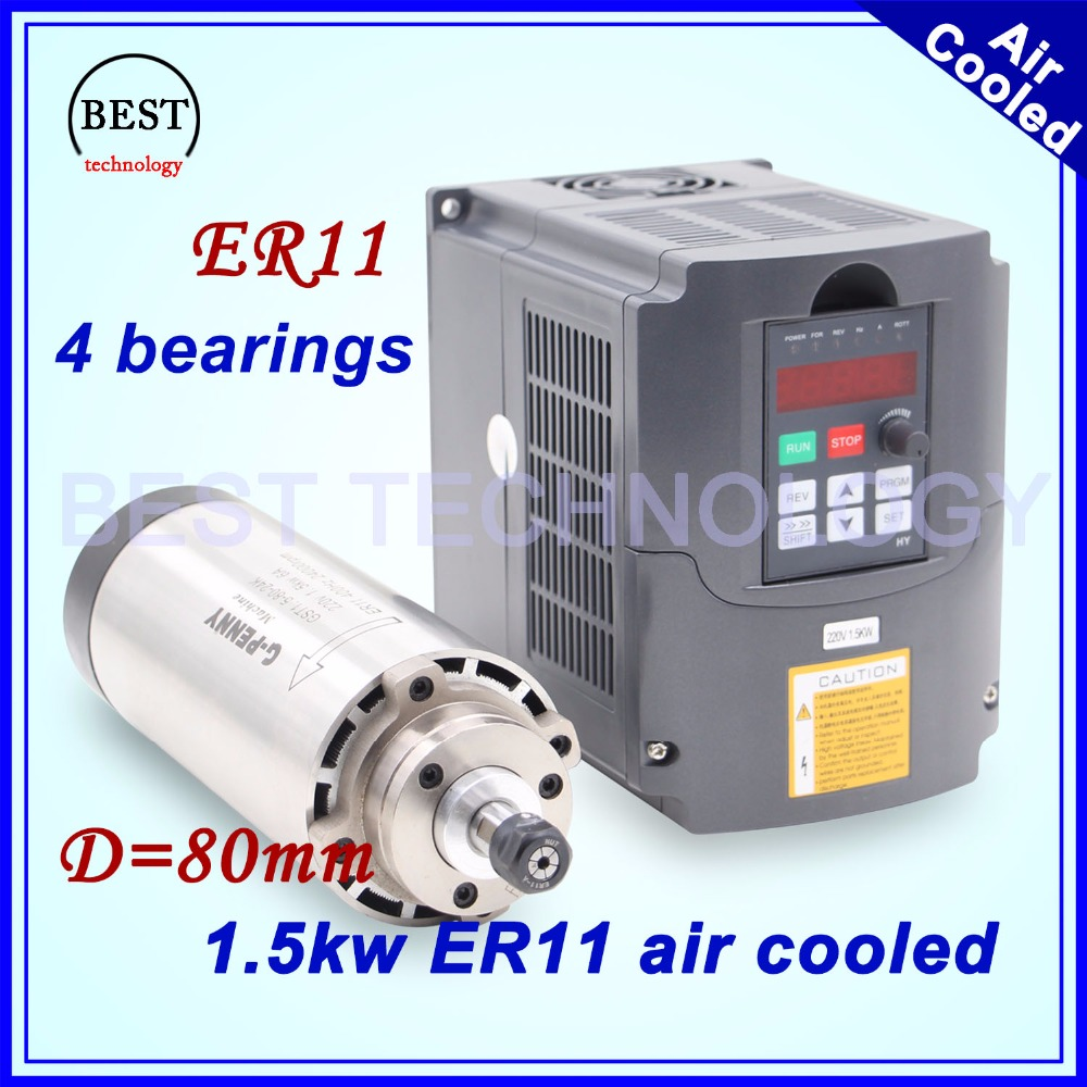 CNC milling spindle kit 1.5kw ER11 air cooled spindle 80mm diameter 4 pcs bearings air cooling accuracy 0.01mm & 220v 2.2kw VFD new arrival 1 5kw er11 air cooled spindle 80mm diameter 4 pcs bearings 24000rpm air cooling cnc milling spindle accuracy 0 01mm