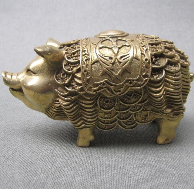 Ymying Chinese Zodiac Old Brass Money Pig Ornaments / Antique Ornaments
